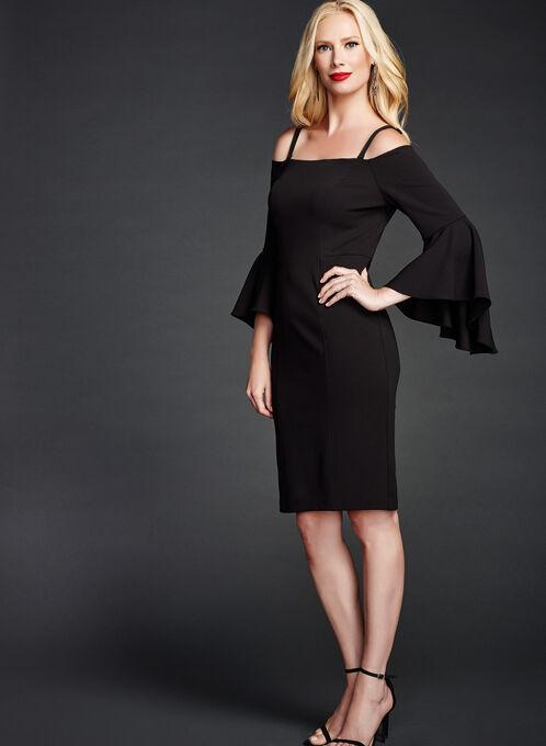 Cold Shoulder Bell Sleeve Dress, Black, hi-res