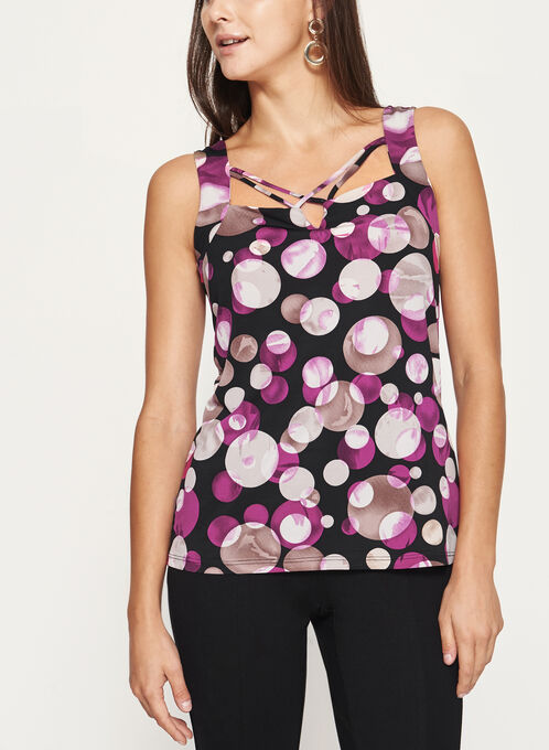 Sleeveless Bubble Print Jersey Top , Black, hi-res