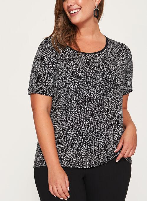 Geometric Print Jersey Top , Black, hi-res