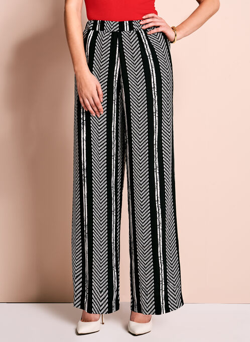 Linea Domani Graphic Stripe Wide Leg Pants, Black, hi-res