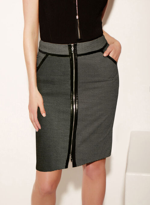 Zipper Front Dot Print Pencil Skirt, Black, hi-res