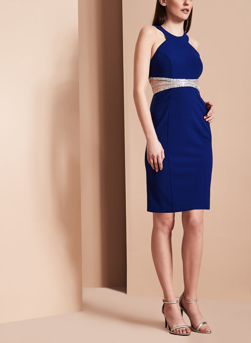 Decode 1.8 - Halter Neck Illusion Waist Dress, Blue, hi-res