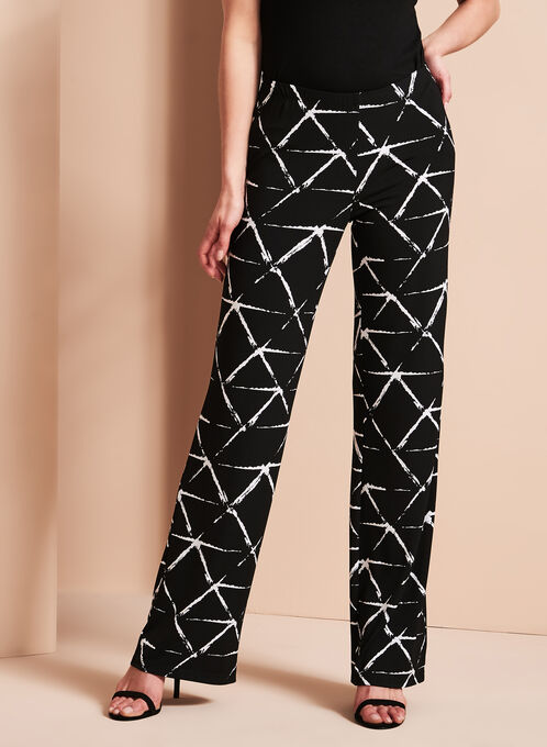 Graphic Print Wide Leg Pants, Black, hi-res