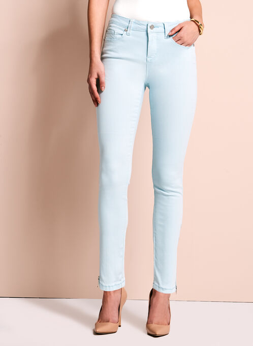Zipper Trim Slim Leg Jeans