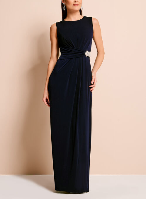 Embellished Cowl Back Gown, Blue, hi-res