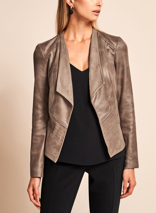 Vex Open Front Faux Suede Jacket , Brown, hi-res