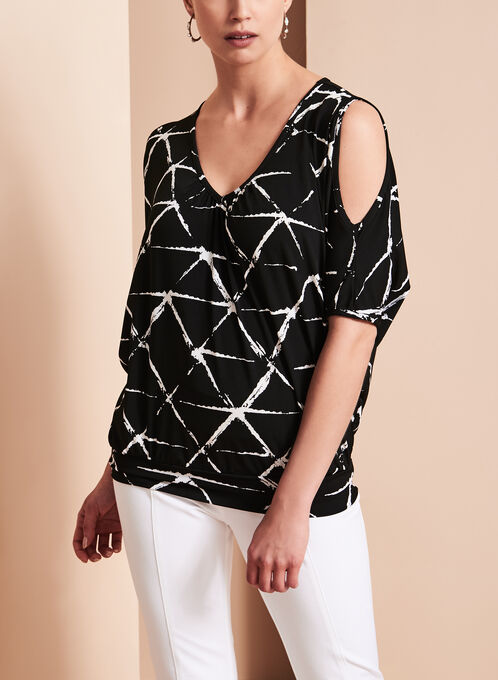 Graphic Print Cold Shoulder Top, Black, hi-res