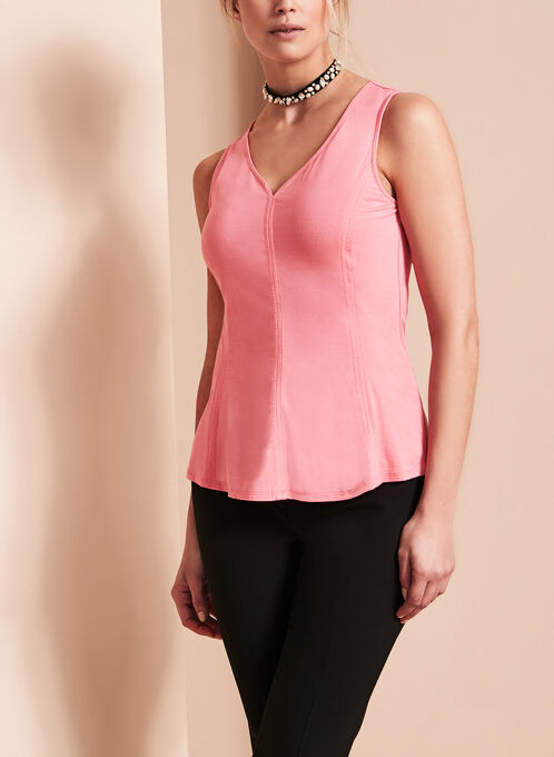 Sleeveless V-Neck Top, Pink, hi-res