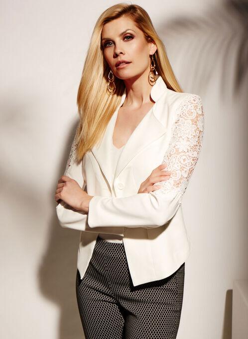 Crepe Lace Trim One-Button Blazer, Off White, hi-res