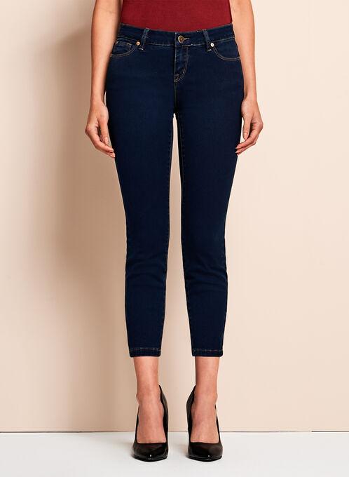 Slim Leg Tummy Control 7/8 Jeans, Blue, hi-res