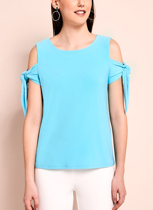 Tie Detail Cold Shoulder Top, Blue, hi-res