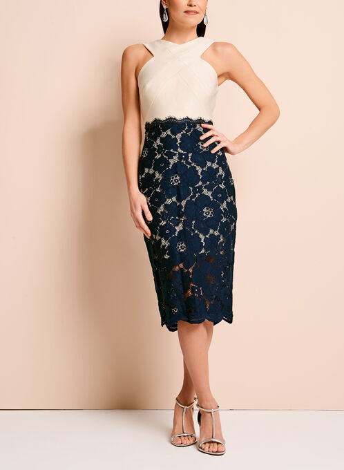Jax Lace Contrast Sheath Dress, Blue, hi-res