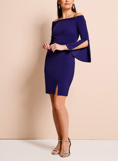 Off The Shoulder Crepe Dress, Blue, hi-res