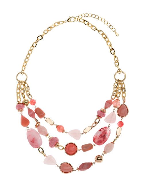 Triple Row Stone Necklace, Pink, hi-res