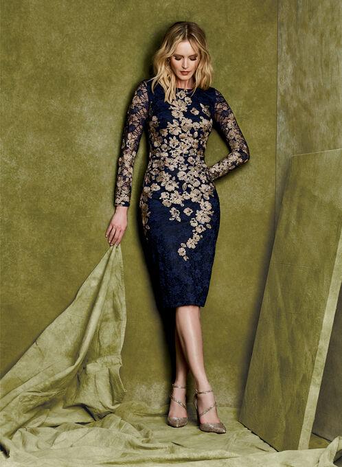 Floral Lace Two-Tone Dress, Blue, hi-res