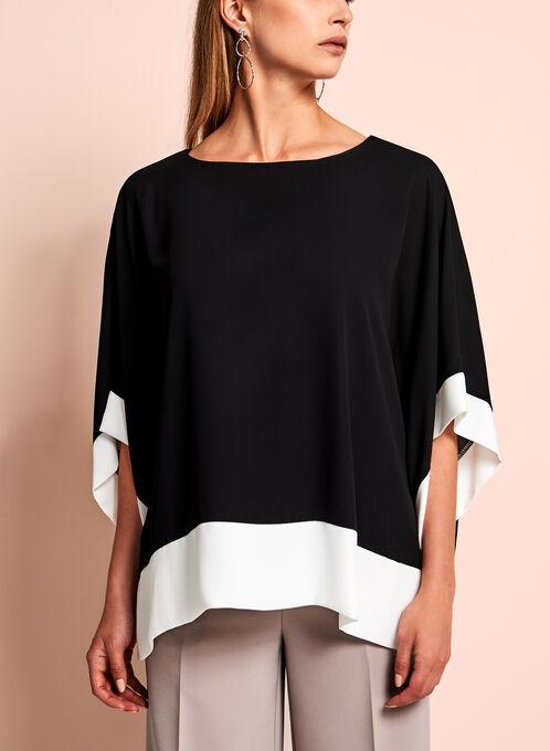 Contrast Jersey Poncho Blouse, Black, hi-res