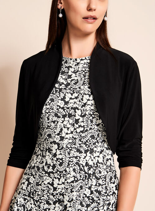 3/4 Sleeve Shirred Jersey Bolero, Black, hi-res