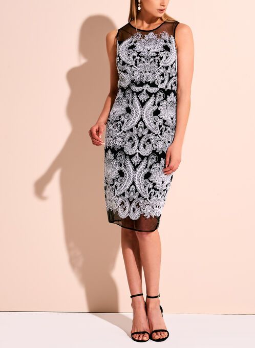 Jax Paisley Embroidered Mesh Dress, Black, hi-res