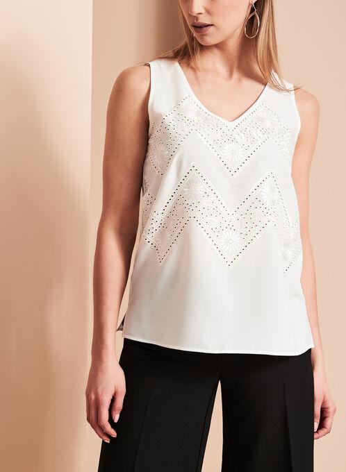 Sleeveless V-Neck Embroidered Blouse, Off White, hi-res