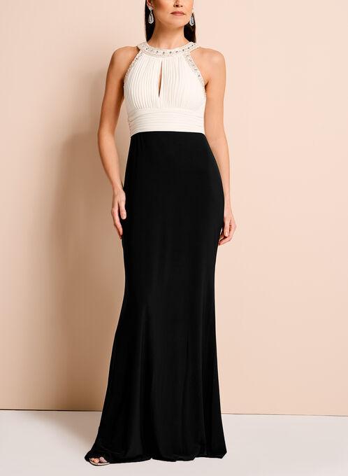 Embellished Cleo Neck Contrast Gown, Black, hi-res