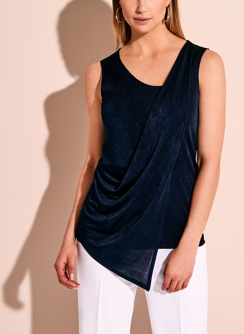 Sleeveless Asymmetric Drape Front Blouse, Blue, hi-res