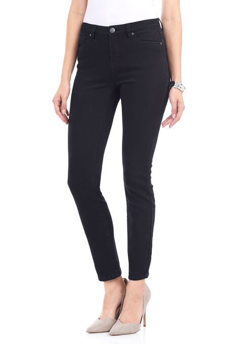 Tummy Control Slim Leg Denim Pants, Black, hi-res