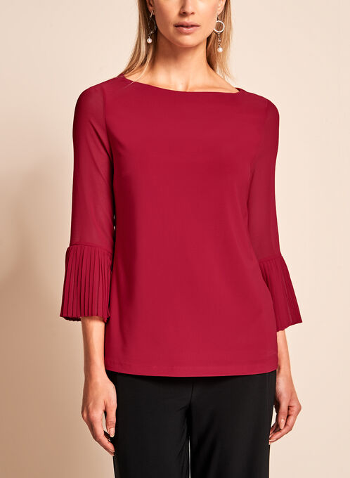 3/4 Sheer Bell Sleeve Blouse, Red, hi-res