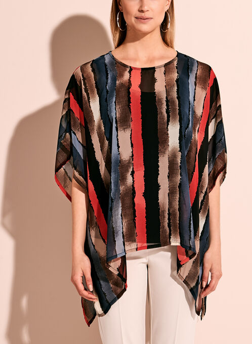 Graphic Stripe Print Poncho Blouse, Brown, hi-res