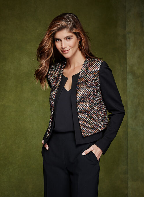 Cropped Tweed Blazer, Blue, hi-res