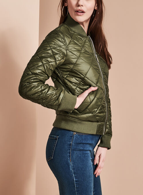 French Connection - Quilted Bomber Coat, Green, hi-res