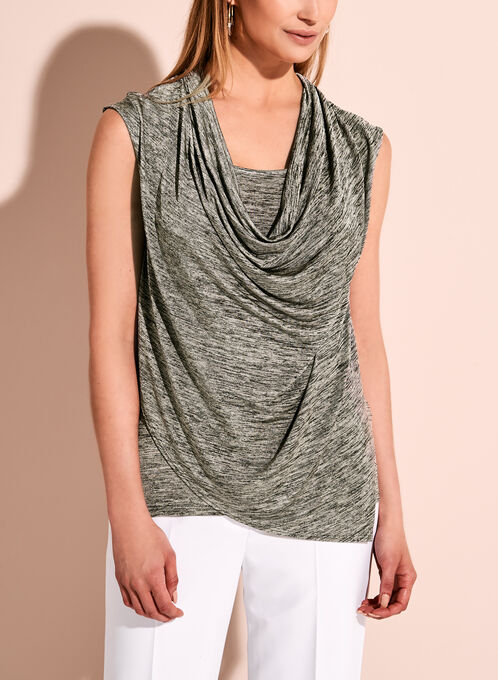 Sleeveless Cowl Neck Top, Grey, hi-res