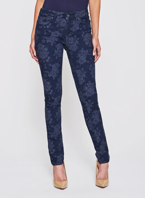Floral Print Slim Leg Jeans, Blue, hi-res