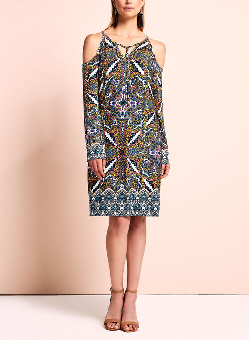 Maggy London - Printed Cold Shoulder Dress, Multi, hi-res