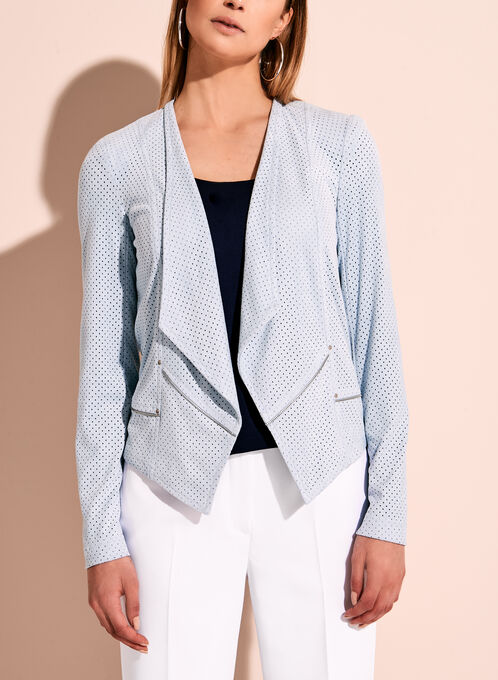 Vex Perforated Zipper Trim Faux Suede Jacket, Blue, hi-res