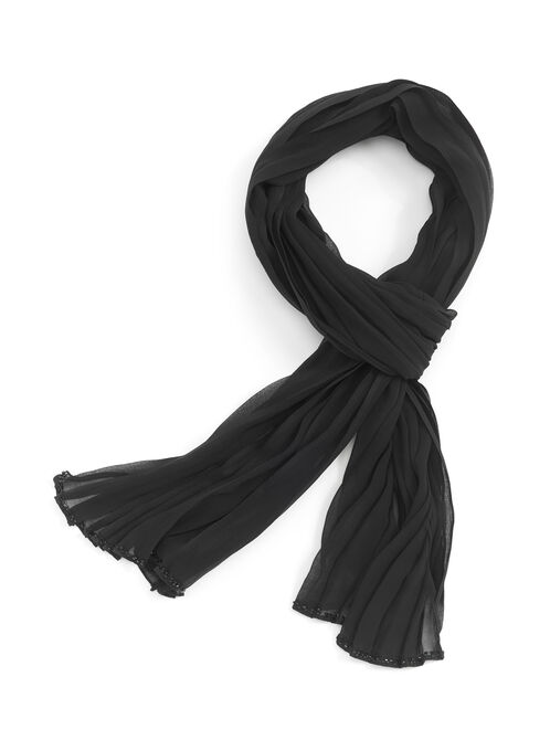 Pleated Wrap Scarf, Black, hi-res