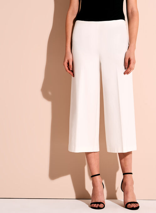 Ponte Wide Leg Pants, Off White, hi-res