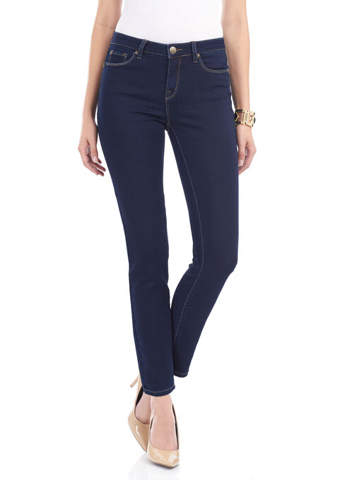 Tummy Control Slim Leg Denim Pants, Blue, hi-res