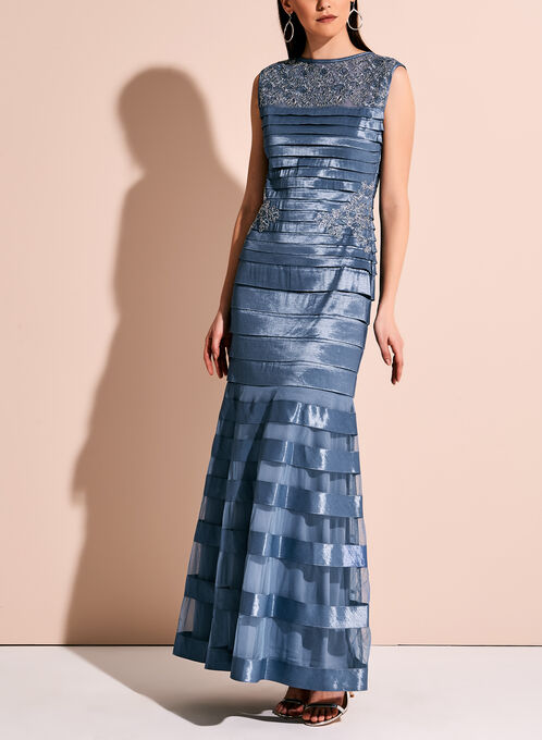 Lace Mesh Shimmer Shutter Dress, Blue, hi-res