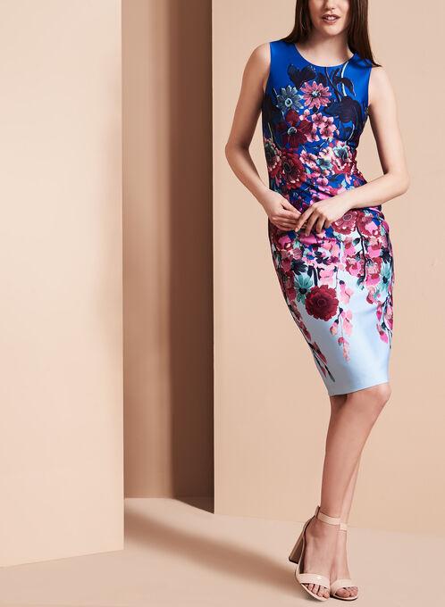 Adrianna Papell - Floral Print Scuba Dress, Multi, hi-res