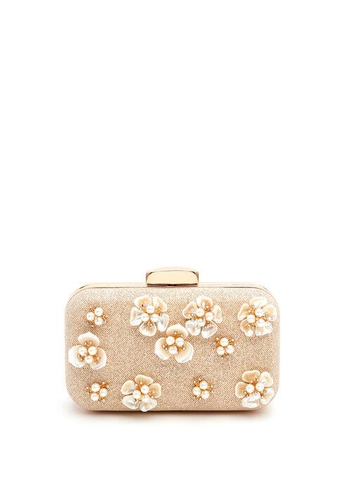 Floral Motif Box Clutch, Off White, hi-res
