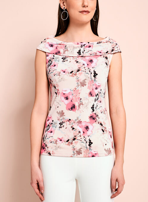 Watercolour Floral Print Top, Orange, hi-res