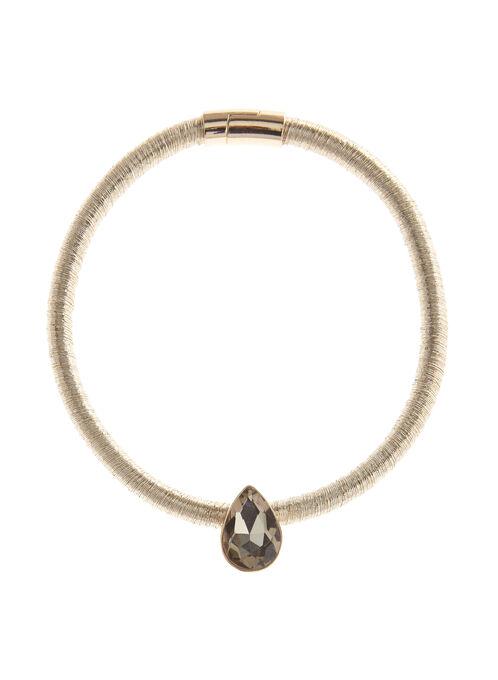 Teardrop Crystal Cord Necklace, Gold, hi-res