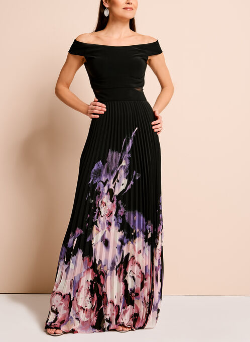 Off The Shoulder Floral Hem Gown, Multi, hi-res