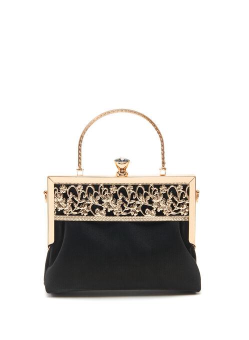 Floral Filigree Evening Bag, Black, hi-res