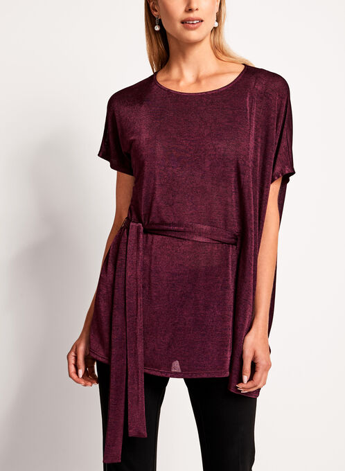 Dolman Sleeve Side Tie Blouse, Red, hi-res