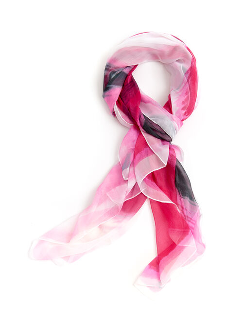 Watercolour Stripe Print Scarf, Pink, hi-res