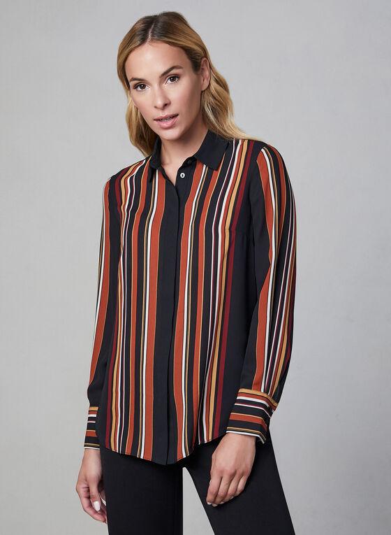 Stripe Print Chiffon Shirt