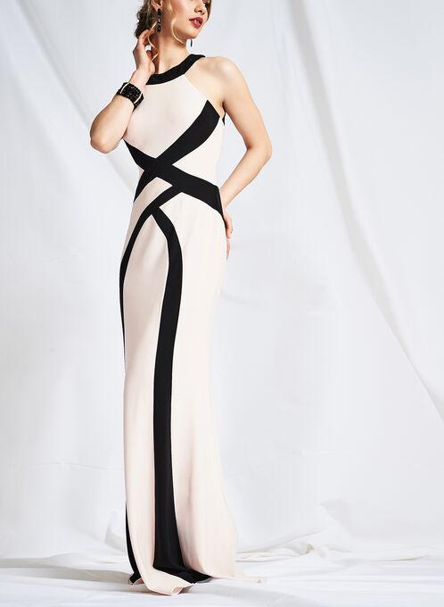 Jersey Mock Neck Gown, Black, hi-res
