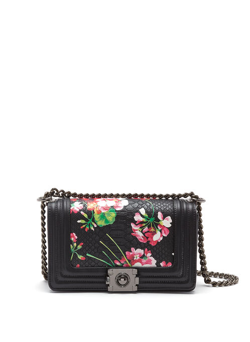 Floral Print Crocodile Crossbody Bag, Black, hi-res