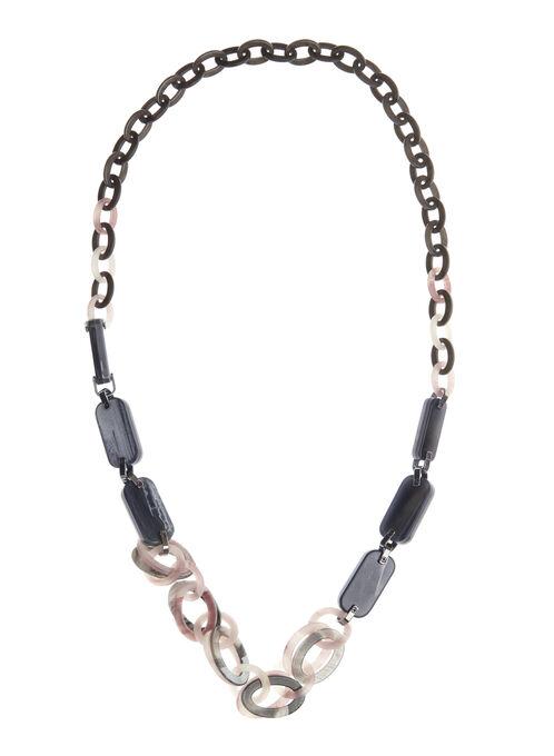 Lucite Link Necklace, Grey, hi-res